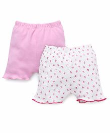 Ben Benny Shorts Floral Print And Plain Pack Of 2 - Pink White