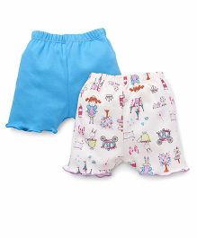 Ben Benny Shorts Multi Print And Plain Pack Of 2 - Blue White