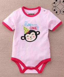 Superfie Half Sleeves Basic Animal Print Onesie - Pink & Red