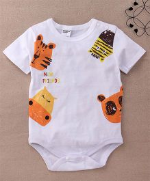 Superfie Half Sleeves Printed Onesie - White