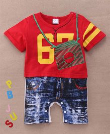 Superfie Half Sleeves Mock T-Shirt Shorts Design Romper - Red Blue