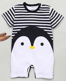 Superfie Half Sleeves Penguin Printed Romper - White Black