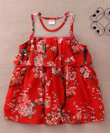 Superfie Sleeveless Casual Floral Dress - Red