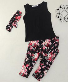 Superfie Sleeveless Solid Color Top And Printed Pants With Headband - Black