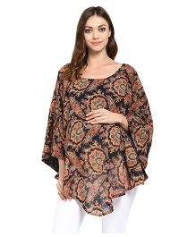 Wobbly Walk Poncho For Maternity & Nursing Floral Print - Navy Multicolor
