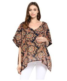 Wobbly Walk 2-in-1 Poncho for Maternity & Nursing Floral Print - Navy Multicolor