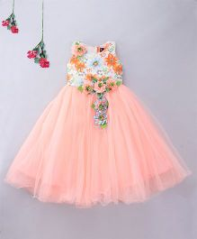 Enfance Sleeveless Party Wear Gown With Attached Flower - Peach