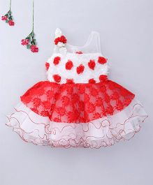 Enfance Party Wear With Attached Flowers - White & Red