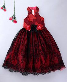 Enfance Elegent Sleeveless Party Wear Gown - Red & Black