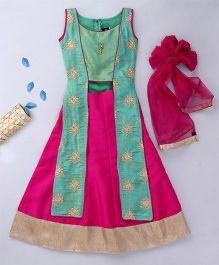 Enfance Long Choli Ghagra Dupatta Set - Pink & Green