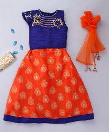 Enfance Choli Set With Hand Embroidery Work - Blue & Orange