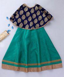 Enfance Choli Set With A Cape - Blue & Green