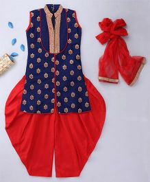 Enfance Patiala Suit Set With Dupatta - NavyBlue & Red