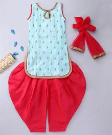 Enfance Patiala Suit Set With Dupatta - Blue & Pink