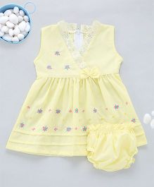 Kid1 Pastel Hues Dress With Embroidery - Yellow