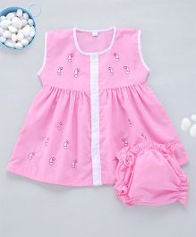 Kid1 A - Line Embroidered Frock - Pink