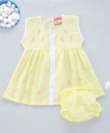 Kid1 A - Line Embroidered Frock - Yellow