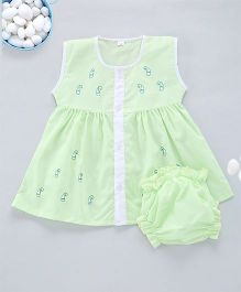 Kid1 A - Line Embroidered Frock - Lime Green