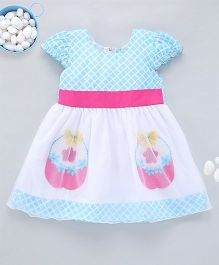Kid1 Enchanting Floral Basket Summer Party Dress - Blue & White
