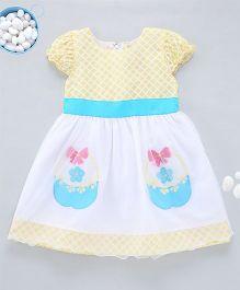 Kid1 Enchanting Floral Basket Summer Party Dress - Lemon Yellow