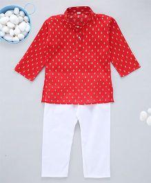Kid1 Exclusive Self - Design Kurta Pyjama - Red