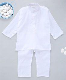 Kid1 Handloom Cotton Kurta Pyjama - White