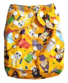 Chuddybuddy Diaper Cover With Charcoal Bamboo Stay Dry Insert Chinatown Print - Yellow