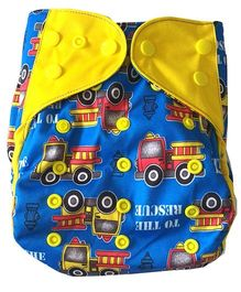 Chuddybuddy Diaper Cover With Charcoal Bamboo Stay Dry Insert Trucks Print - Blue