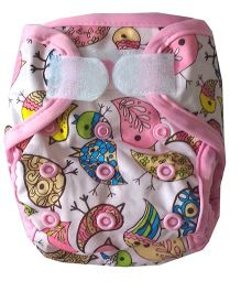Chuddybuddy Newborn Diaper Cover With 2 Stay Dry Bamboo Inserts Birds Print - Pink