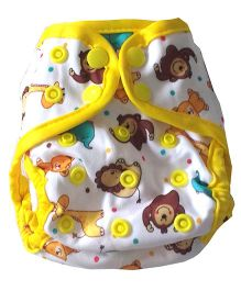Chuddybuddy Newborn Diaper Cover With 2 Stay Dry Bamboo Inserts Bears & Lions Print - White