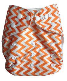Chuddybuddy Cloth Diaper With Insert Orange Chevron Print - Orange