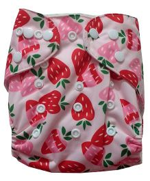 Chuddybuddy Cloth Diaper With Insert Strawberries Print - White
