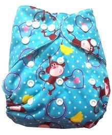 Chuddybuddy Bamboo Fleece Diaper With Insert Monkey Love Print- Blue