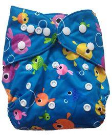 Chuddybuddy Bamboo Fleece Diaper With Insert Fish Tank Print- Blue