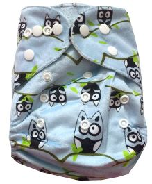 Chuddybuddy Bamboo Fleece Diaper With Insert Owls Print- Blue