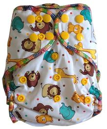 Chuddybuddy Fitted Diaper Bears And Lions Print - White