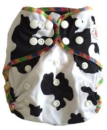 Chuddybuddy Fitted Diaper Cow Print - White