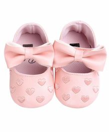 Bellazaara Soft Sole Heart Embossed Shoes - Pink