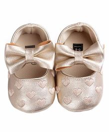 Bellazaara Soft Sole Heart Embossed Shoes - Golden