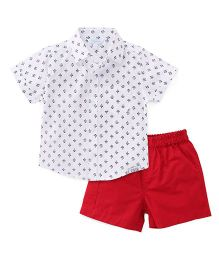 ToffyHouse Half Sleeves Printed Shirt And Shorts - White & Red