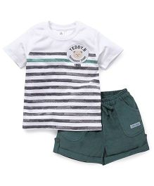 ToffyHouse Half Sleeves T-Shirt And Shorts Teddy Bear Patch - White & Green