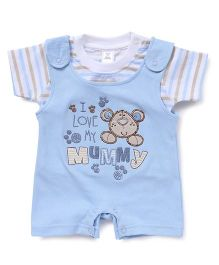 ToffyHouse Dungaree Romper With Tee I Love Mummy Embroidery - Light Blue