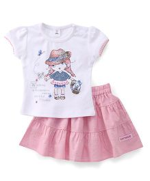 ToffyHouse Short Sleeves Top And Skirt Set Printed - White & Pink