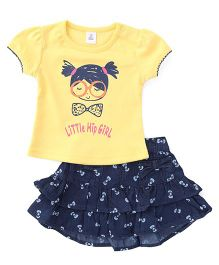 ToffyHouse Top And Skirt Set Printed - Yellow Blue