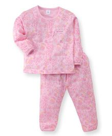 ToffyHouse Full Sleeves Teddy Print Night Suit - Pink