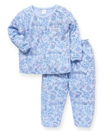 ToffyHouse Full Sleeves Teddy Print Night Suit - Light Blue