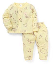 ToffyHouse Full Sleeves Printed Night Suit - Lemon