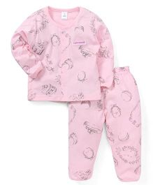 ToffyHouse Full Sleeves Printed Night Suit - Pink