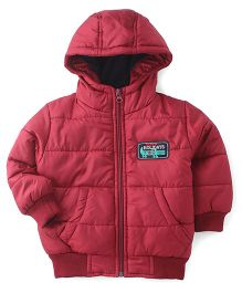 Babyhug Full Sleeves Quilted Jacket - Maroon