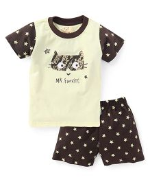 Olio Kids Half Sleeves T-Shirt And Printed Shorts Mr Fantastic Print - Yellow Brown